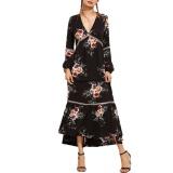 Low Price Fashion Women Bohemian Dress Retro Floral Print Plunge V Neck Maxi Summer Long Dress Black Intl