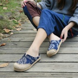 Retail Fashion Women Casual Cotton Flax Outdoor Comfortable Round Toe Flat Loafer Shoes Intl