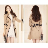 Fashion Women Casual Trench Coat Overcoat Korean Style Female Solidcolor Coats Jackets Outerwear Khaki Intl For Sale