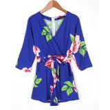 Fashion Women Casual V Neck 3 4 Sleeve Print High Waist Pocket Short Jumpsuit Int Xl Overseas Intl Price