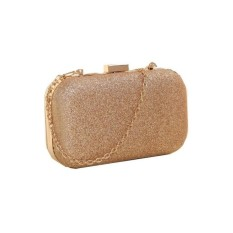 Fashion Women Clutch Box Evening Party Glitter Chain Hand Bags Wallet Gold - intl