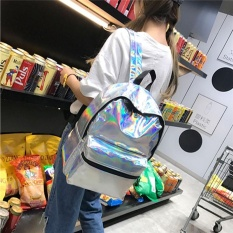 Top Rated Fashion Women Girls Hologram Holographic Sch**l Backpack Tote Travel Laser Bag Silver Intl