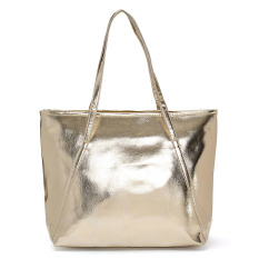 Fashion Women Ladies Pu Leather Large Tote Purse Elegant Shopping Bag Handbag Champagne Gold Coupon