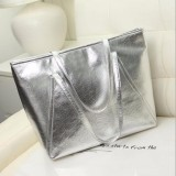 Sale Fashion Women Ladies Pu Leather Large Tote Purse Elegant Shopping Bag Handbag Silver Oem