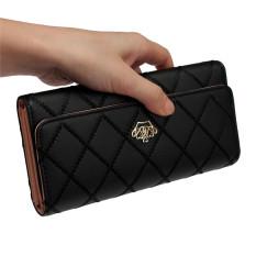 Retail Price Fashion Women Lady Faux Leather Wallet Holder Card Purse Clutch Handbag Black