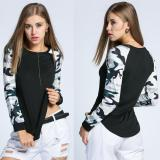 How To Buy Fashion Women O Neck Print Raglan Sleeve Patchwork Slim T Shirt Tops Intl
