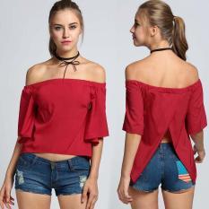 Great Deal Fashion Women Off Shoulder Slash Neck Flare Sleeve Slit Back Blouse Tops Intl