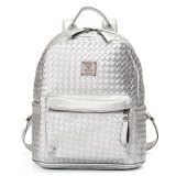 Store Fashion Women Sch**l Shoulder Leather Braided Backpack G*rl Travel Bag Rucksack Silver Oem On China