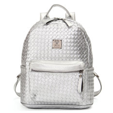 Purchase Fashion Women Sch**l Shoulder Leather Braided Backpack G*rl Travel Bag Rucksack Silver Online