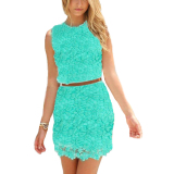 Lowest Price Fashion Women S*xy Vintage Lace Sleeveless Cocktail Evening Party Bodycon Slim Pencil Dress Mini Dress(Green