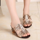 Compare Fashion Women Summer Chic Beach Sandals Slip On Platform Slippers Butterfly Rhinestone Sandals Intl Prices