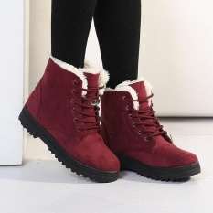 How To Buy Fashion Women Winter Keep Warm Flat Plush Snow Boots Ankle Short Boots Intl