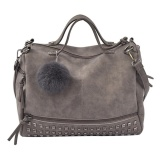 How To Get Fashion Women Winter Rivet Shoulder Bag Versatile Handbag Sling Bag Grey Intl