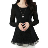 Price Fashion Women S Floral Chiffon Tops Long Sleeve Lace Crochet Shirt Casual Blouse Oem China