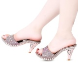 Review Fashionable Rhinestone Embellishment Open Toe Thick High Heel Slippers For Women Pink Intl Oem