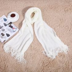 c8795b164bb Fashionable Women Men Long Knitted Scarf Warm Shawl for Winter Autumn(White  with Tassels) - intl