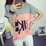Fat Mm Female Short Sleeved Loose Tide Summer Plus Sized Women S T Shirt Pink Pink Deal