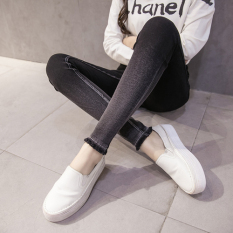 Buy Fat Mm Spring High Waist Stretch Slim Fit Denim Leggings Outer Wear Plus Sized Long Pants Slimming Effect Feet Pants 200 Kg Black Raw Cut Models 7113 China