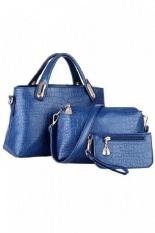 Buy Faux Crocodile Leather Bags Blue Set Of 3 Online