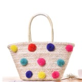 Coupon Favolook Colorful Pom Pom Ball Women Beach Bag Straw Rattan Handbags Shoulder Bags Intl