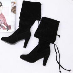 Best Deal Favolook Fashion Women Ladies Lace Up Over The Knee Round Toe High Square Heel Suede Long Boots Black Intl