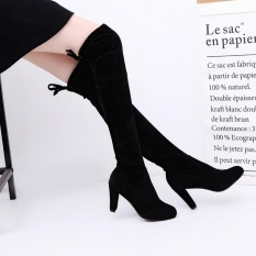 Discount Favolook Fashion Women Ladies Scrub Round Toe Over The Knee Lace Up Suede High Block Heel Long Boots Black Intl Favolook