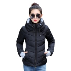 How To Get Favolook Lady Winter Warm Solid Color Stand Collar Hooded Thick Slim Long Sleeve Short Cotton Coat Black Intl