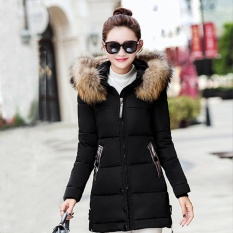 Get The Best Price For Favolook New Fashion Lady Winter Thick Slim Warm Jacket Fur Hooded Solid Color Down Coat Black Intl