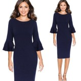 Cheapest Favolook Women Fall Elegant 3 4 Flare Bell Sleeve Work Office Party Bodycon Pencil Dress Purplish Blue Intl