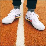 Compare Price Feiyue Dt503B Medium Upper Flat Sneakers European Style White Shoes Feiyue Letter On China