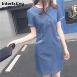 Sale Female Denim Dresses Summer Short Sleeve Slim Dress Jeans Midi Patchwork A Line Dress Korean Intl Oem Branded