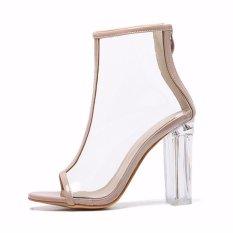 Female Fashion Summer Transparent Thin Heel Peep Toe Heels Sandals(Apricot) Intl Best Buy