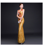 Price Comparisons Of Women S Cheongsam Style Mermaid Sequined Evening Dress Gold Gold