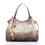 Who Sells Female Pu Leather Handbag Hollow Out Bags Shoulder Bag Color Gradient Tassel Bag Grey Cheap