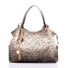 Best Reviews Of Female Pu Leather Handbag Hollow Out Bags Shoulder Bag Color Gradient Tassel Bag Grey