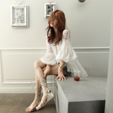 Female Bell Sleeve Beach Long Top White Chiffon Shirt Coupon Code