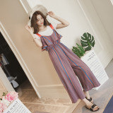 Female Summer New Style Korean Style T Shirt Suspender Pants Brown Two Piece Sets Price Comparison