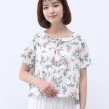 Price Fenghuangse Fashion Women S Short Sleeved Printed Round Neck Shirt Shirt White China