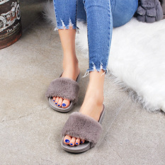 88f06a8a0f3 Fenty Rihanna Style Indoor Casual Shoes House Cute Women Slippers Warm Slipper  Slides(Grey)