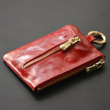 Latest Cute Soft Leather Women S Mini Key Buckle Card Holder Wine Red Color