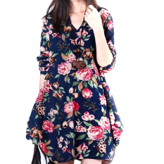 Price Comparison For Five Star Store New S*xy Womens Floral Linen Long Sleeve V Neck Cute Party Evening Short Mini Dress Dark Blue Intl