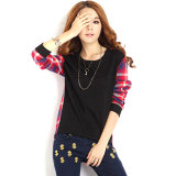 Deals For Five Star Store Zanzea Women Casual Long Sleeve Round Neck Check Plaid Casual Loose Tops Shirt Blouse Black