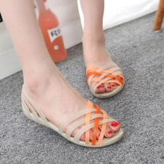 Best Rated Women S Korean Style Soft Sole Plastic Sandals Beige Beige