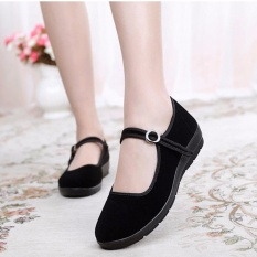 Discount Flat Shoes Woman Work Shoes Mary Janes Soft Bottom Comfortable Beijing Cloth Shoes Black Intl