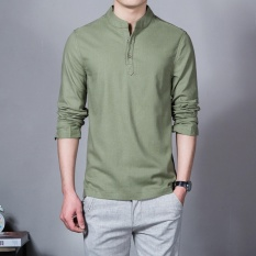Where Can I Buy Flax Long Sleeve Shirt Men Chinese Style Retro Stand Collar Linen Shirts Army Green Intl
