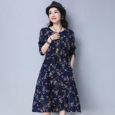 Floral Art Linen Female New Dress Dress Blue Blue Deal