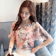 Best Deal Floral Print Chiffon Women New Style V Neck Flounced Blouse Bell Sleeve Top Pink