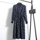 Price Floral European And American Wick Velvet Collar Long Sleeved Women S Dress China