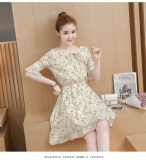 Great Deal Floral Indie Chiffon Female New Style Dress Beige