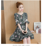Compare Prices For Floral Indie Chiffon Female New Style Dress Dark Green Color